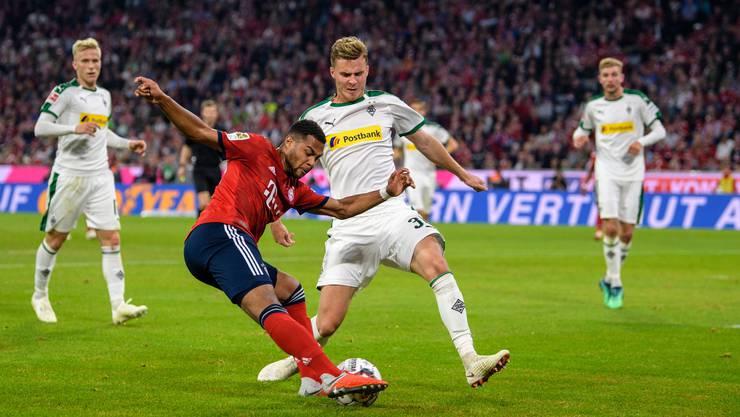 Kein Durchkommen für Gnabry von Bayern München gegen den Schweizer Verteidiger Nico Elvedi.