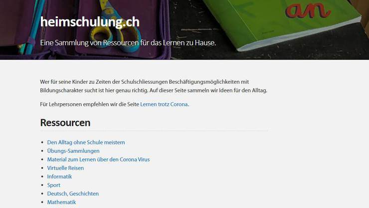 Screenshot Website Heimschulung.ch