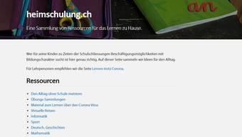 Screenshot Website Heimschulung.ch