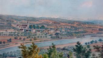 Schönenwerd, Aquarell von David Alois Schmid um 1840. Rechts auf der Aare erkennbar die Fähre nach Niedergösgen. Foto: Patrick Lüthy/Original in der Sammlung Ballyana.