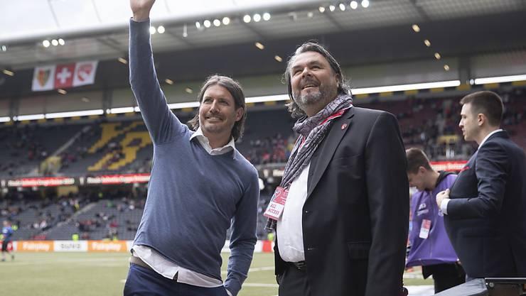 Markus Lüthi (rechts) gibt sein Amt als Präsident des FC Thun ab. Als Nachfolger soll Sportchef Andres Gerber übernehmen