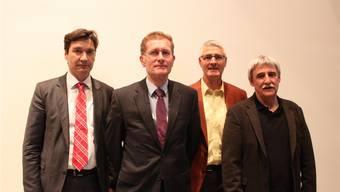 Feierten 50 Jahre Repla Grenchen-Büren (Von links): Stadtpräsident François Scheidegger, Christoph Neuhaus, Justiz- und Gemeindedirektor des Kantons Bern, Repla-Präsident Konrad Schleiss und Geschäftsführer Jean-Pierre Ruch.