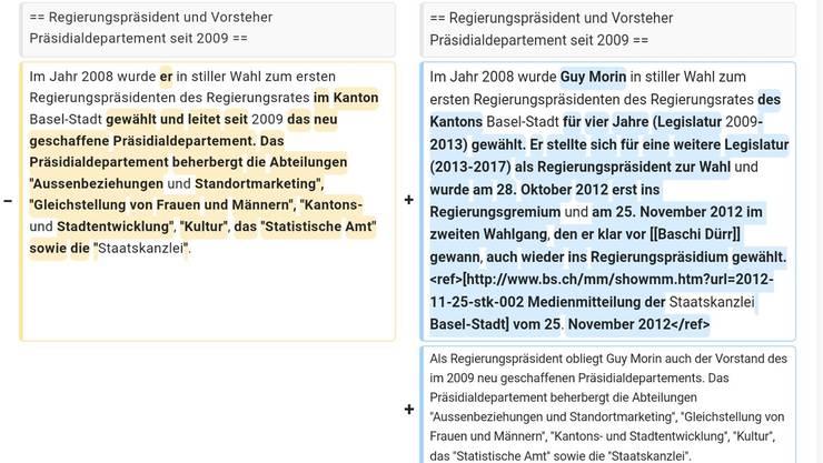 Die Wikipedia-Seite von Guy Morin vor (links) und nach Bearbeitung durch einen seiner Mitarbeiter.