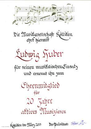 Lui Huber, 20 Jahre MGK, Ehrung am Jahreskonzert vom 23. März 2013