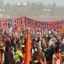 Kundgebung am Sonntag im indischen Ayodhya für den Bau eines Hindu-Tempels an der Stelle einer zerstörten Moschee.