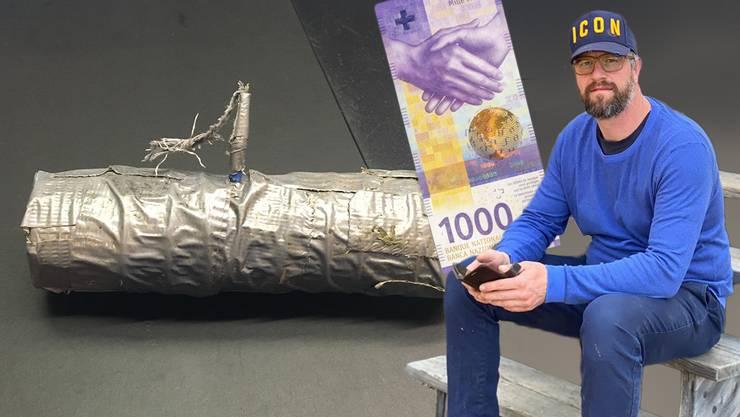 Pascal Schindler bietet 1000 Franken für denn goldenen Hinweis, der zum Täter führt. Im Bild der erste Knallkörper, der in den Reben gefunden wurde.