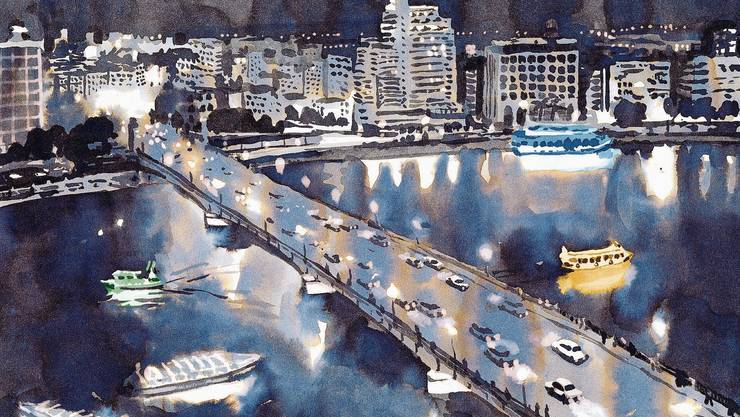 In die kleinen Bilder, die Storys erzählen, hat Lorenz Rieser auch immer wieder grossformatige Impressionen zu Kairo eingestreut.