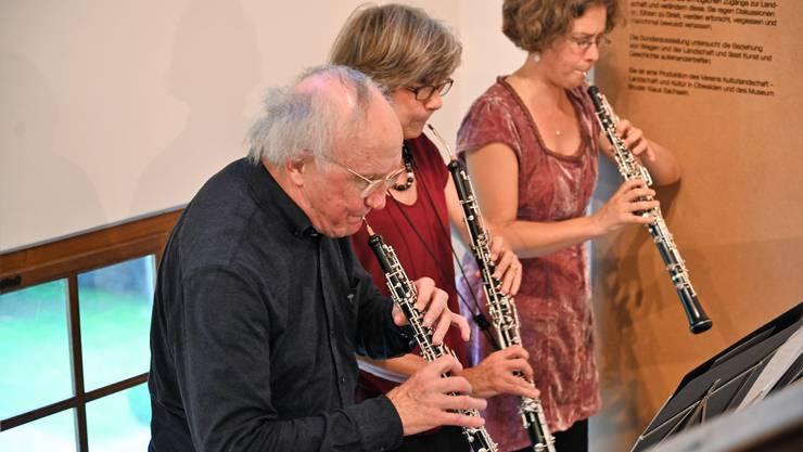 Das Oboen-Trio mit Heinz Holliger, Marie-Lise Schüpbach und Andrea Bischoff.