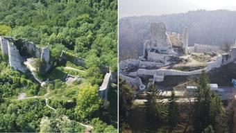 Vorher/nachher: Mit dem Zustand von 2006 (linkes Bild) hat die aufwändig sanierte und teilweise wiederaufgebaute Ruine Pfeffingen 2017 nicht mehr allzu viel gemein.