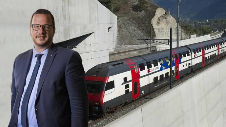 Befürchtet ein Verkehrschaos bei einer Schliessung des Lötschberg-Basistunnels: der Walliser CVP-Nationalrat Philipp Matthias Bregy.