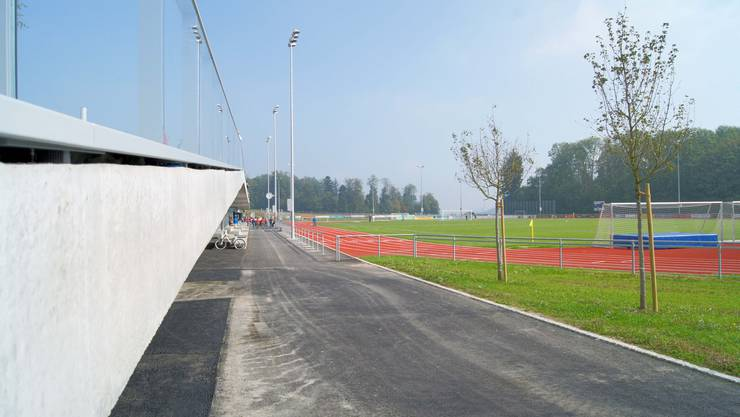 Die Aussenanlage ist gross und bietet Möglichkeiten für viele Sportarten
