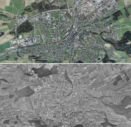 Frauenfeld 2017 (oben) und (1946) unten.