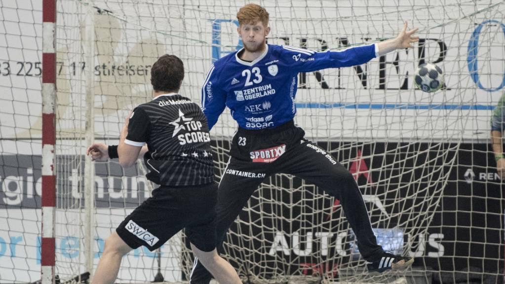 Der Thuner Goalie Flavio Wick hatte einen grossen Anteil am Sieg seiner Mannschaft (Archivbild)