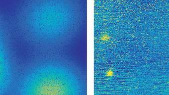 Aufnahme von Quantenpunkten in einem Halbleiter: Während das Bild bei einem normalen Mikroskop (links) verschwommen ist, sind mit der neuen Methode (rechts) deutlich vier Quantenpunkte (gelb) zu erkennen.