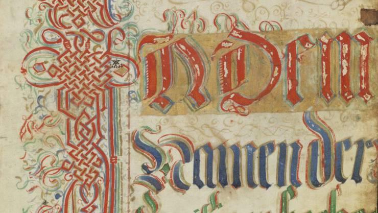 """Die erste Seite des """"Silbernen Landbuchs"""" von Appenzell Innerrhoden aus dem Jahr 1585."""