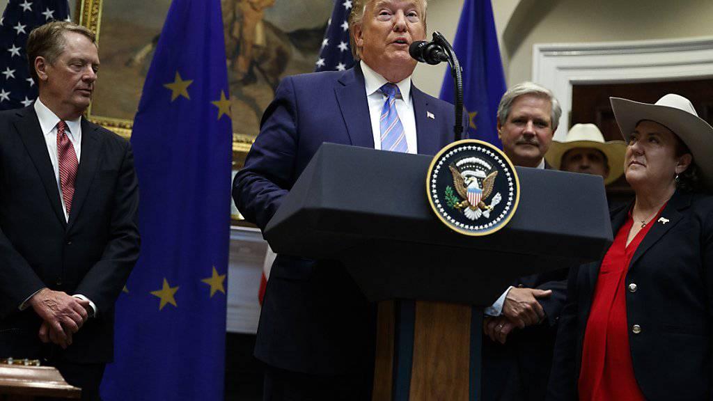 Abkommen im Rindfleisch-Streit verkündet: US-Präsident Donald Trump bei der Bekanntgabe in Washington.