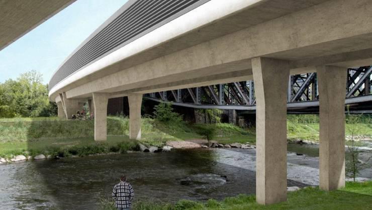 Visualisierung der Eisenbahnbrücke über die Wiese.