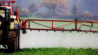 Ein Bauer spritzt Mittel, um seine Pflanzen zu schützen.