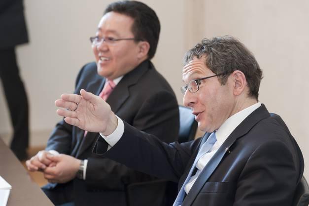 Tsakhia Elbegdorj mit Regierungsrat Urs Hofmann