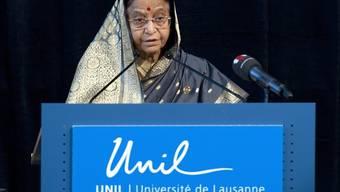 Indiens Präsidentin Pratibha Patil während der Rede an der Universität Lausanne