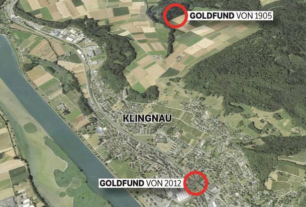 In Klingnau gab es zwei grosse Goldfunde: 2012 fanden zwei Gemeindearbeiter 2,6 Kilogramm Goldbarren, 1905 hatten Holzhauer im Wald 829 Goldmünzen ausgegraben.