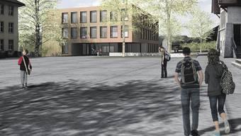 Das neue Küttiger Schulhaus Dorf mit dem Pausenplatz. (zvg)