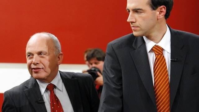 Christophe Darbellay und Ueli Maurer bei einem Auftritt im Schweizer Fernsehen (Archiv)