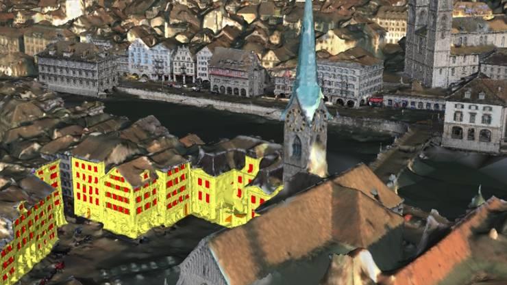 Das 3D-Modell von Zürich erstellten ETH-Forscher allein auf der Basis von Bilddaten.