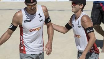 Adrian Heidrich (links) und Mirco Gerson scheitern in den Sechzehntelfinals deutlich