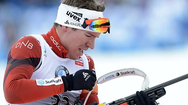 Der Norweger Emil Hegle Svendsen auf dem Weg zum dritten Gold.