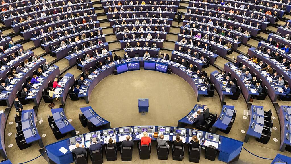 ARCHIV - Mitglieder des Europäischen Parlaments sitzen während einer Abstimmung im Plenarsaal des Europäischen Parlaments. Foto: Philipp von Ditfurth/dpa Foto: Philipp von Ditfurth/dpa
