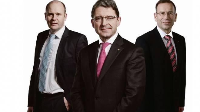 SVP-Nationalräte Thomas Hurter (SH), Heinz Brand (GR), Hannes Germann (SH). Foto: Keystone