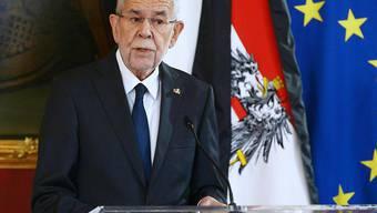 Alexander Van der Bellen, Bundespräsident von Österreich,  hält eine Ansprache anlässlich des Terroranschlags in der Wiener Innenstadt. Foto: Herbert Pfarrhofer/APA/dpa