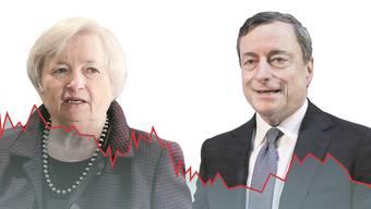 Janet Yellen, Chefin US-Notenbank, und Mario Draghi, Präsident Europäische Zentralbank schwingen das Zepter in der Zinsfrage.