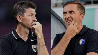 Sorgenfalten bei FCA-Trainer Marinko Jurendic und FCW-Trainer Ranko Jakovljevic.