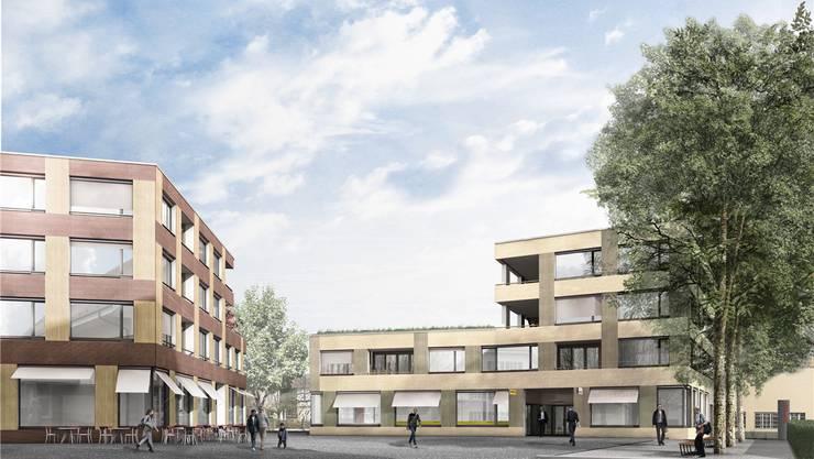 Bald schon Realität: Der neue Dorfplatz mitten in Deitingen wird von allen Seiten zugänglich sein. zvg
