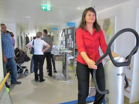 Die Besucher konnten auch ihre Muskeln trainieren