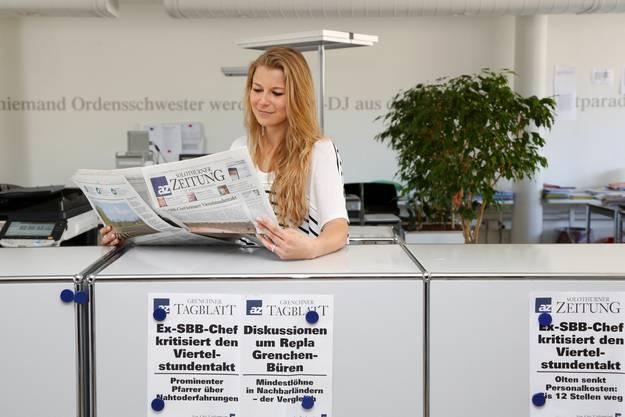 Zu Besuch auf der Redaktion der Solothurner Zeitung: Andrea Sekler, amtierende Miss Schweiz und Finalistin der Miss Earth Schweiz Wahl.