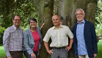 Der neue Vorstand der EVP (v.l.): Reto Felix, Doris von Siebenthal, Markus Loos (Präsident), Alex Meier (Einwohnerrat).