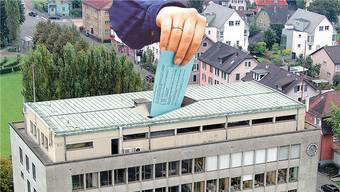 Fotomontage des Wettinger Rathauses als Wahlurne.