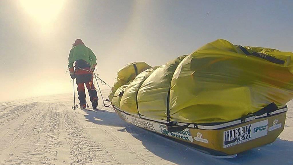 Die letzten 125 Kilometer der Antarktis-Durchquerung legte Colin an einem Stück in 32 Stunden zurück.