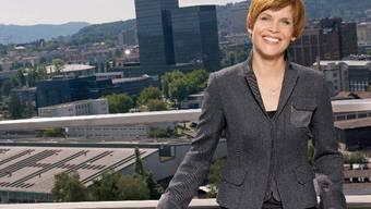 Sandra Boner bei ihrer Arbeit auf dem Dach des TV-Studios Leutschenbach.