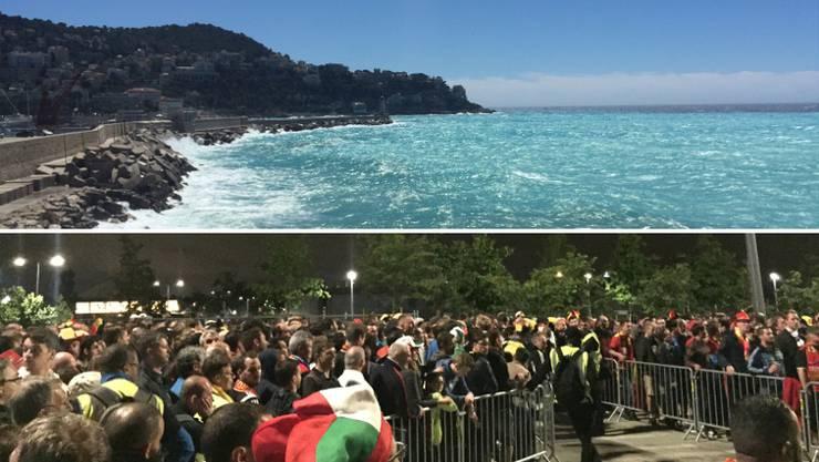 Die Wassermassen in Nizza und die Menschenmassen nach dem Spiel Belgien-Italien in Lyon.
