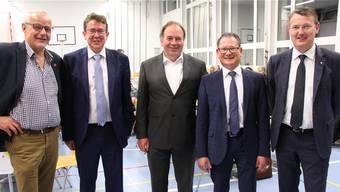 Die Protagonisten der Jubiläumsfeier: Thomas Lüpold, Albert Rösti, Alois Huber, Rolf Jäggi und Thomas Burgherr (von links). Markus Christen