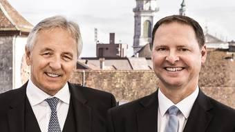 Der bisherige und neue Präsident des Verwaltungsrates: Felix Leuenberger und Philipp Simmen.
