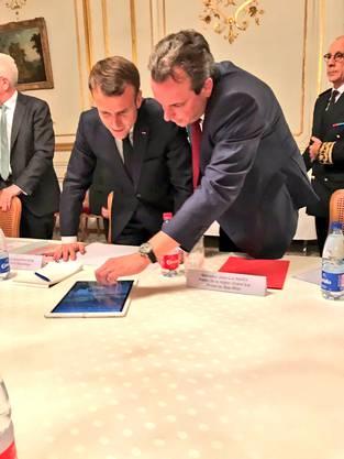 Geschäftsführer Michael Mack stellte ein Bild mit Präsident Emmanuel Macron auf Twitter