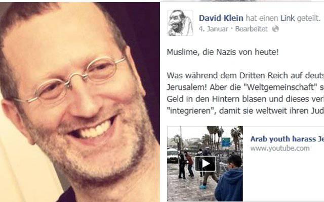 Stein des Anstosses: Das muslimfeindliche Posting von David Klein auf Facebook.