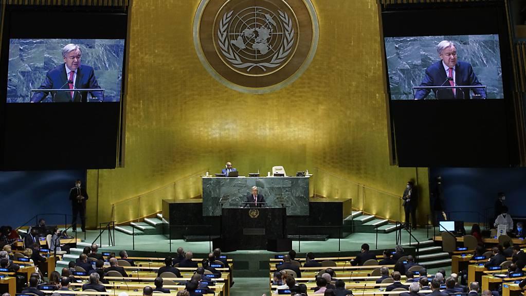 dpatopbilder - António Guterres, Generalsekretär der Vereinten Nationen, spricht während der 76. Generaldebatte der UN-Vollversammlung. Foto: Eaeduardo Munoz/Pool Reuters/AP/dpa