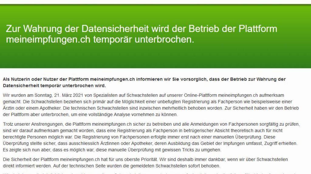Die Webseite der elektronischen Impfplattform meineimpfungen.ch ist weiterhin offline.