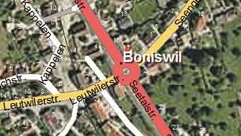An dieser Kreuzung wird der Boniswiler Kreisel erstellt.